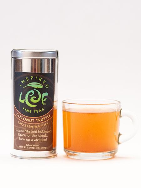 coconut truffle black tea with mug