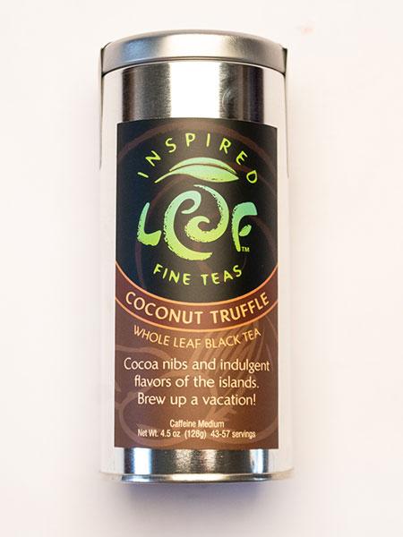 coconut truffle black tea in tin