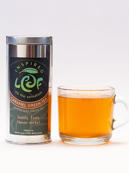 caramel green tea with mug