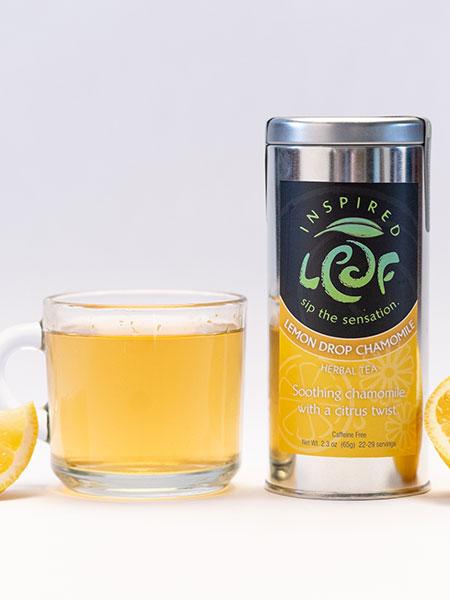lemon chamomile tea with mug