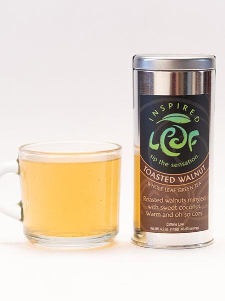 toasted walnut green tea with mug