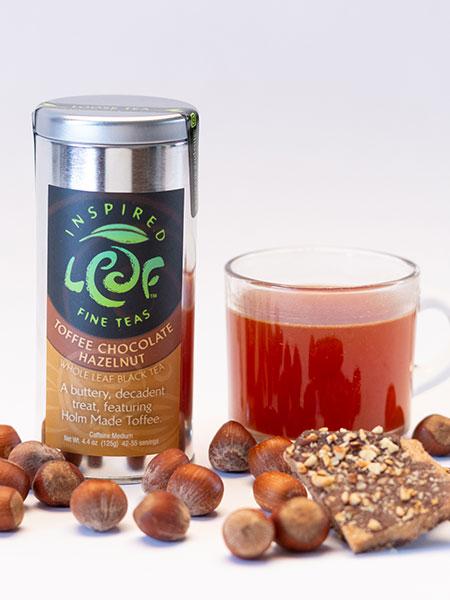 chocolate toffee hazelnut tea with mug