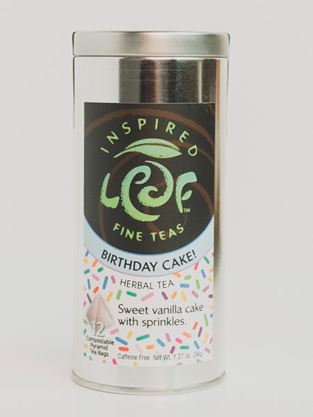 birthday cake herbal tea in tin