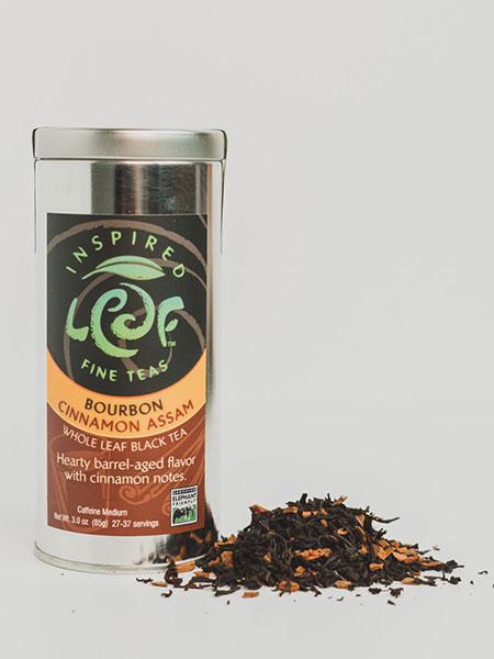 bourbon cinnamon loose leaf tea with tin